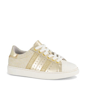 leren sneakers met glitters goud