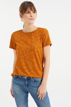 geweven T-shirt met jacquard brique
