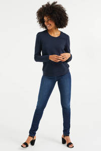 WE Fashion sweater met textuur donkerblauw, Donkerblauw