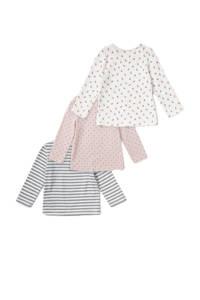 C&A Baby Club baby longsleeve met all over print roze/wit/zwart, Roze/wit/zwart
