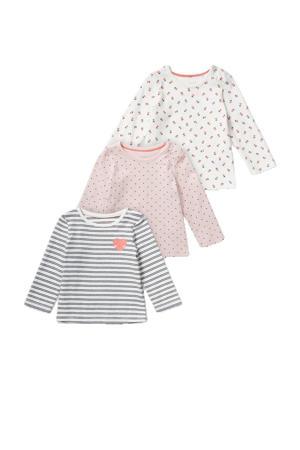 longsleeve - set van 3 roze/wit