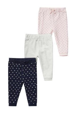 babybroek - set van 3 donkerblauw/grijs melange/roze