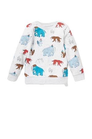 sweater met dierenprint ecru/rood/blauw