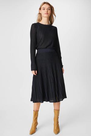 ribgebreide trui met glitters donkerblauw/zwart
