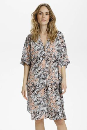 jurk KAlifa met bladprint en vleermuismouwen lichtroze/wit/zwart