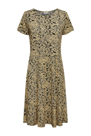 A-lijn jurk KAedmonda met bladprint zwart/okergeel
