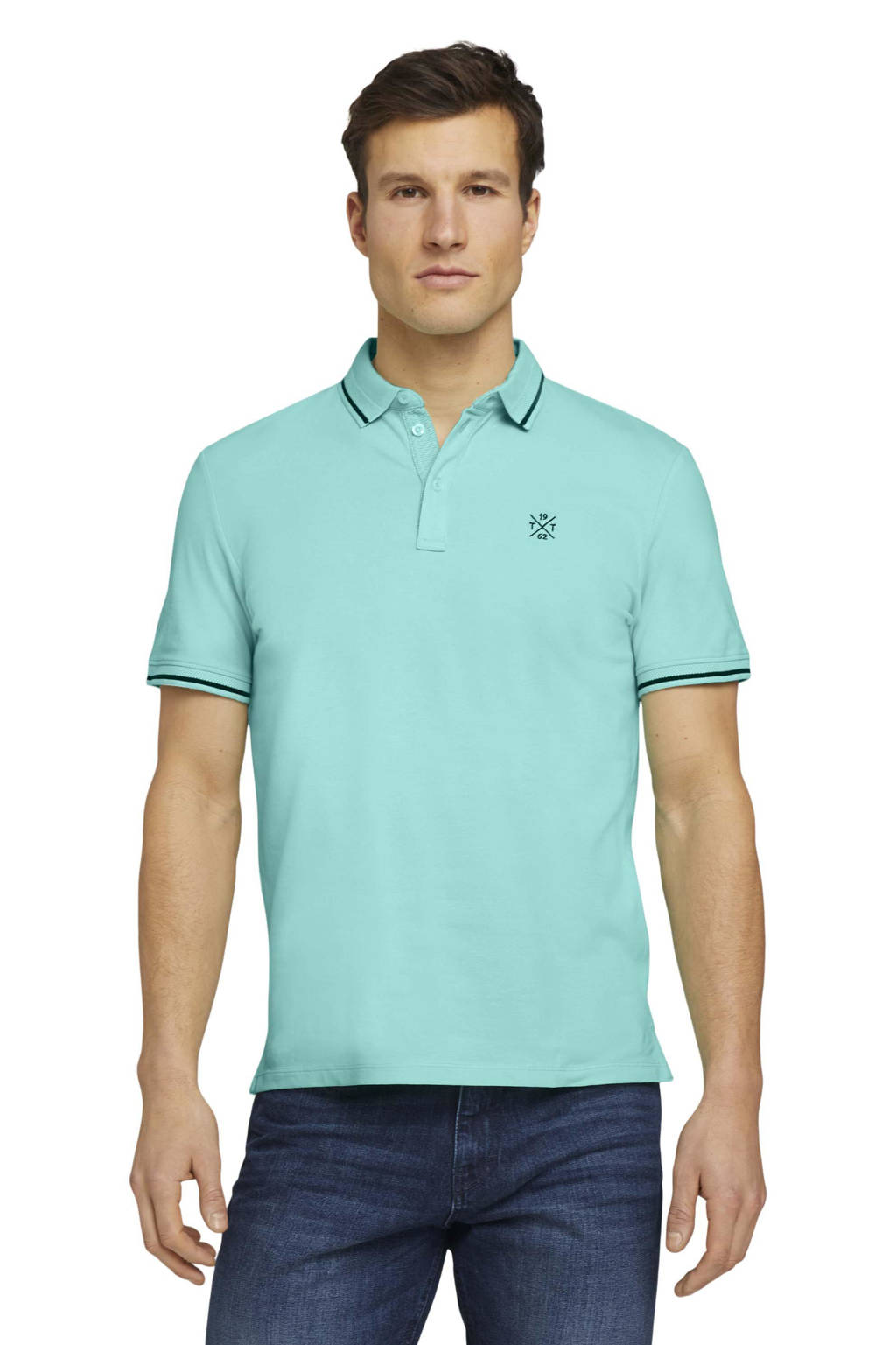 Tom Tailor regular fit polo met logo turquoise, Turquoise