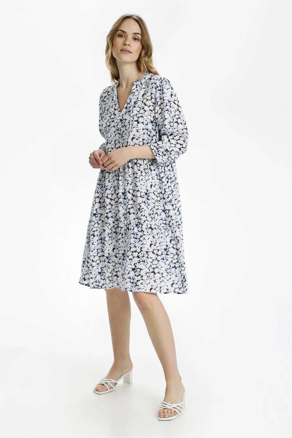 Kaffe gebloemde A-lijn jurk KAfelia Amber donkerblauw/wit/lichtblauw, Donkerblauw/wit/lichtblauw