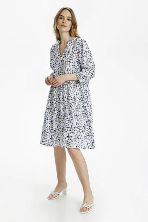 gebloemde A-lijn jurk KAfelia Amber donkerblauw/wit/lichtblauw
