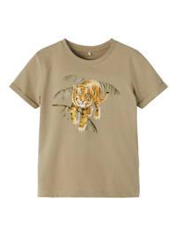 NAME IT MINI T-shirt Jacob met biologisch katoen beige, Beige