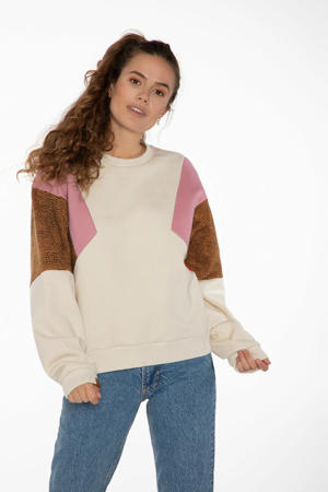 sweater Caylon ecru/bruin/roze