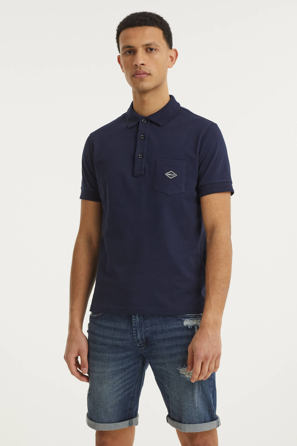 REPLAY regular fit polo donkerblauw, Donkerblauw