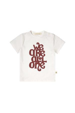 T-shirt met tekst wit/bruin