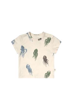 T-shirt met dierenprint ecru/blauw/groen