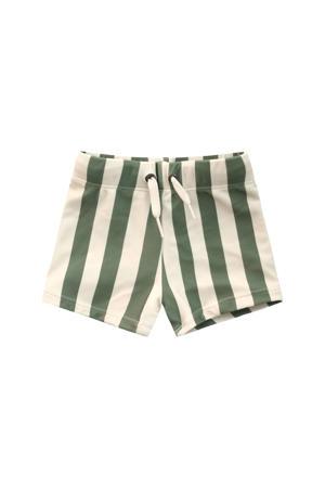 zwemshort met strepenprint groen/wit