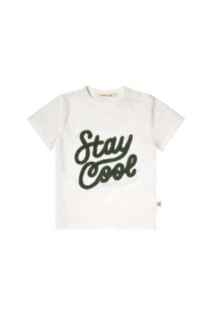 T-shirt met tekst wit/groen