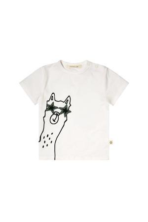 T-shirt met printopdruk wit/zwart/grijs