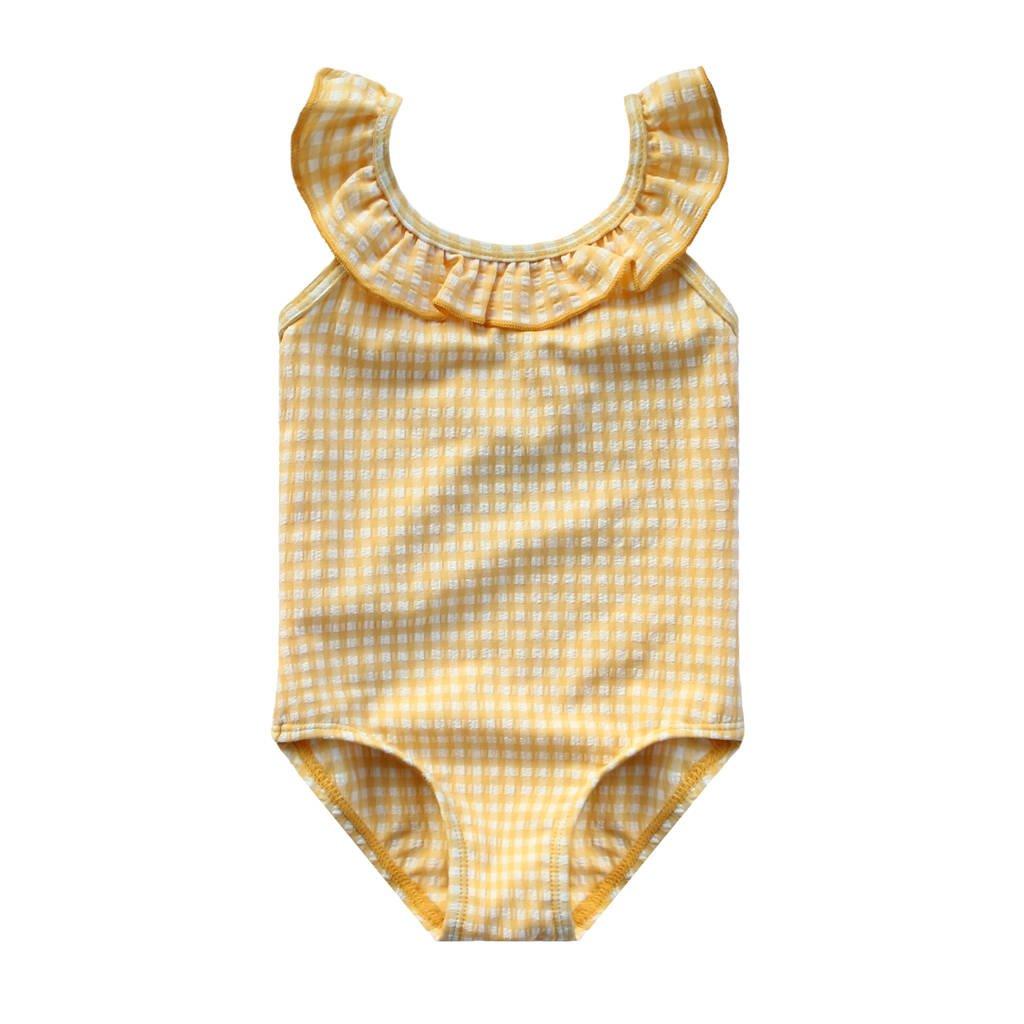 Your Wishes geruit baby badpak lichtgeel/wit, Lichtgeel/wit