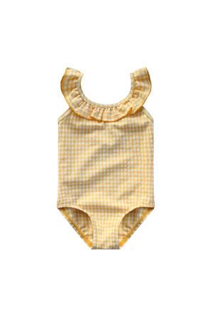 geruit baby badpak lichtgeel/wit