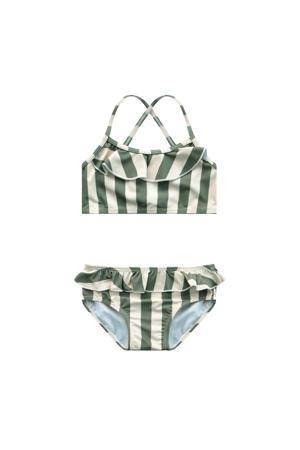 bikini met strepenprint groen/wit