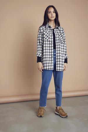 geruite blouse ecru/groen