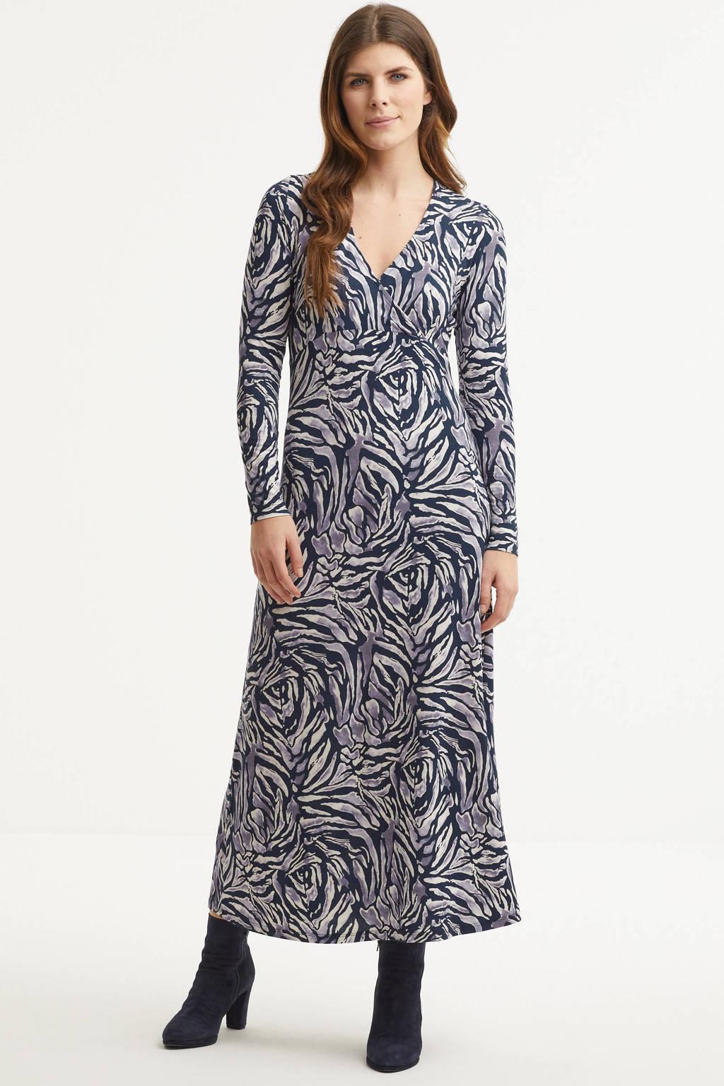 Imagine jurk met all-over print donkerblauw en lila, Donkerblauw/lila
