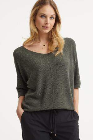 gebreide trui met lurex groen