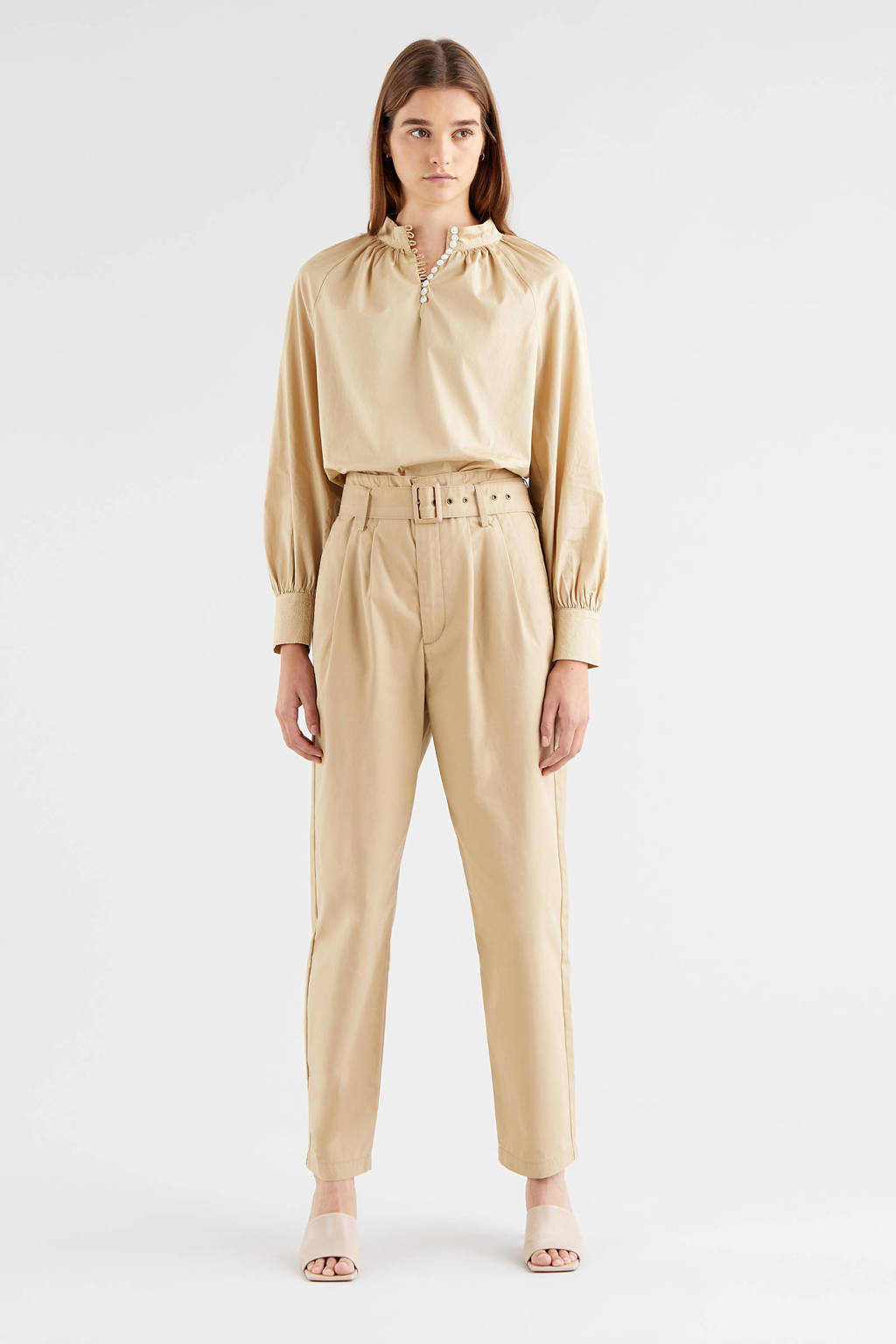 Levi's TAILOR HIGH LOOSE TAPER high waist tapered fit broek beige, Beige