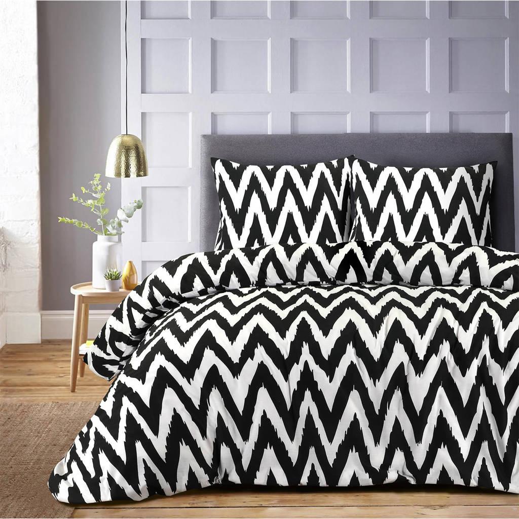 W polyester-katoenen dekbedovertrek lits-jumeaux, Lits-jumeaux (240 cm breed), Wit/zwart