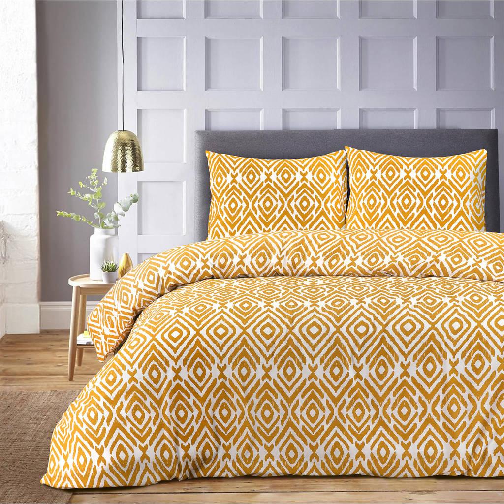 W polyester-katoenen dekbedovertrek 2 persoons, 2 persoons (200 cm breed), Oker/wit