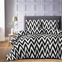 W polyester-katoenen dekbedovertrek 1 persoons, 1 persoons (140 cm breed), Wit/zwart