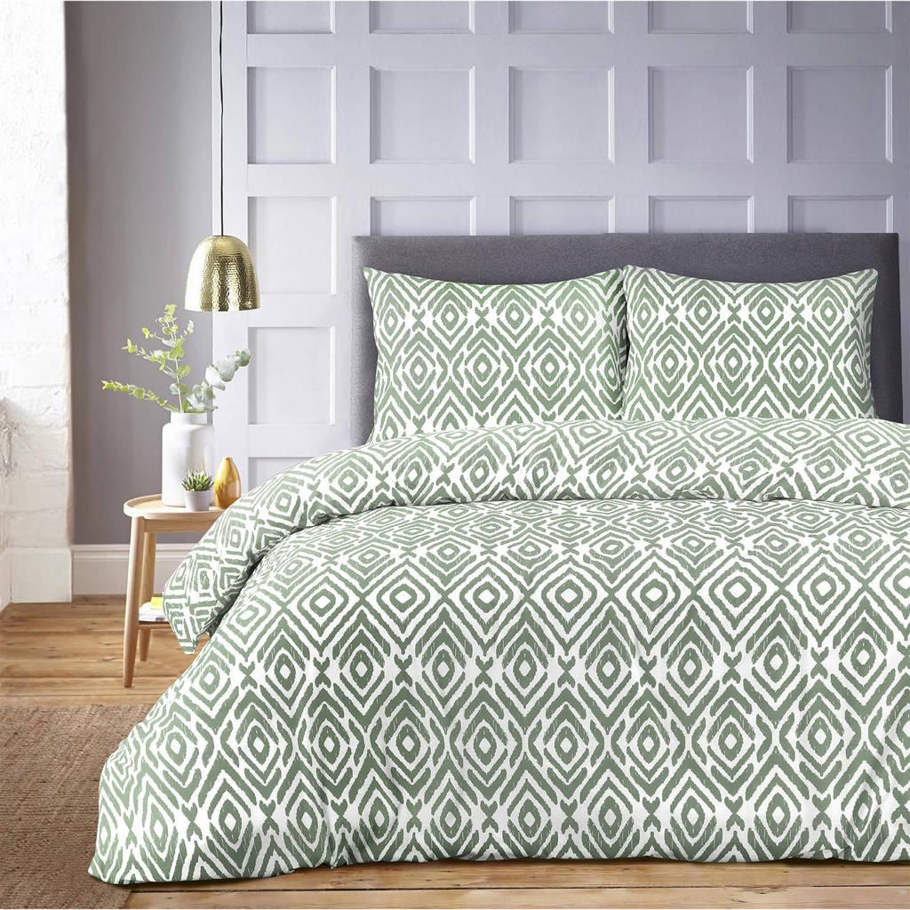 W polyester-katoenen dekbedovertrek 2 persoons, 2 persoons (200 cm breed), Wit/groen