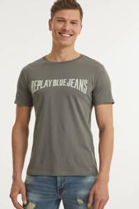 REPLAY T-shirt met logo grijs, Grijs