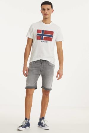 slim fit jeans short lichtgrijs