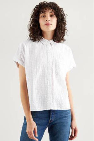 blouse LANEY SS BUTTON DOWN met printopdruk bright white