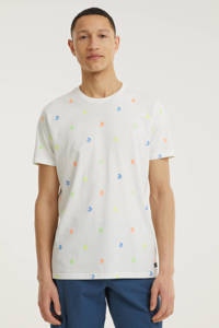 Petrol Industries T-shirt met all over print wit, Wit