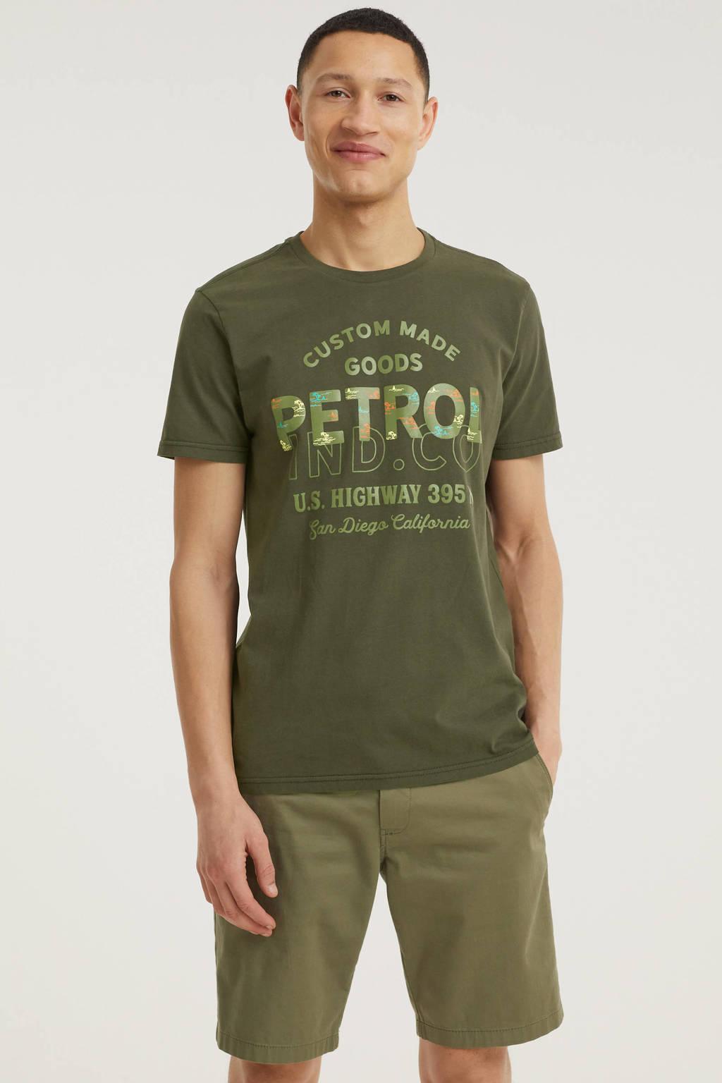 Petrol Industries T-shirt met logo olijfgroen, Olijfgroen
