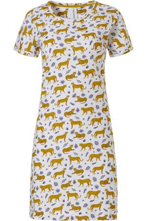 nachthemd met all over print wit/geel