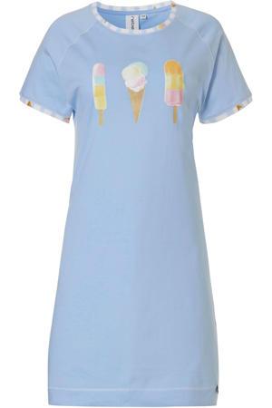 nachthemd met printopdruk lichtblauw