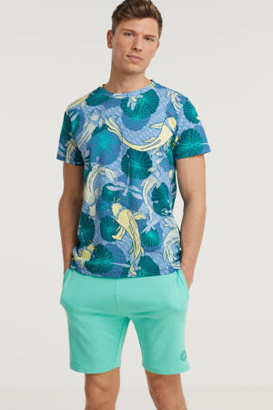 T-shirt met all over print groen/blauw/geel