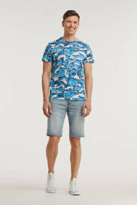 Cars T-shirt met all over print blauw/wit, Blauw/wit