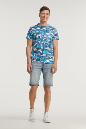 T-shirt met all over print blauw/wit