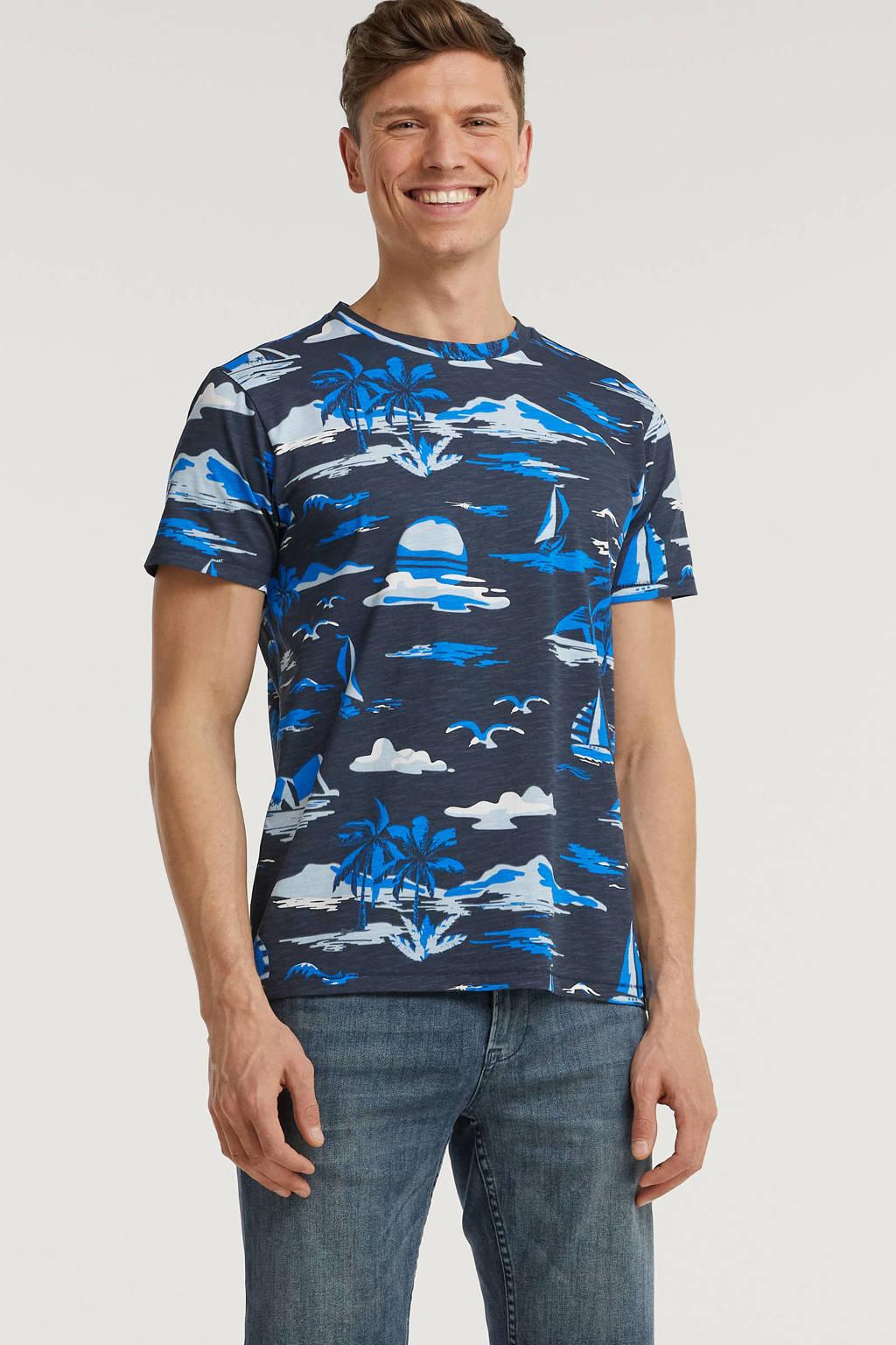 Cars T-shirt met all over print blauw/grijs, Blauw/grijs