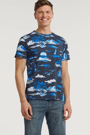 T-shirt met all over print blauw/grijs