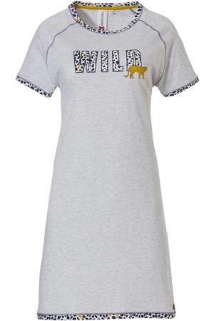 nachthemd met printopdruk grijs