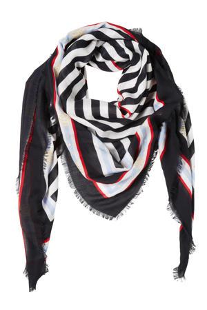 sjaal donkerblauw/wit
