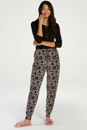 pyjamabroek met all over print zwart/ecru
