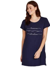 Hunkemöller nachthemd met printopdruk donkerblauw, Donkerblauw