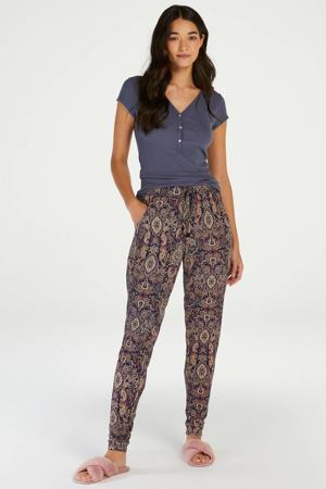 pyjamabroek met paisleyprint donkerblauw/geel