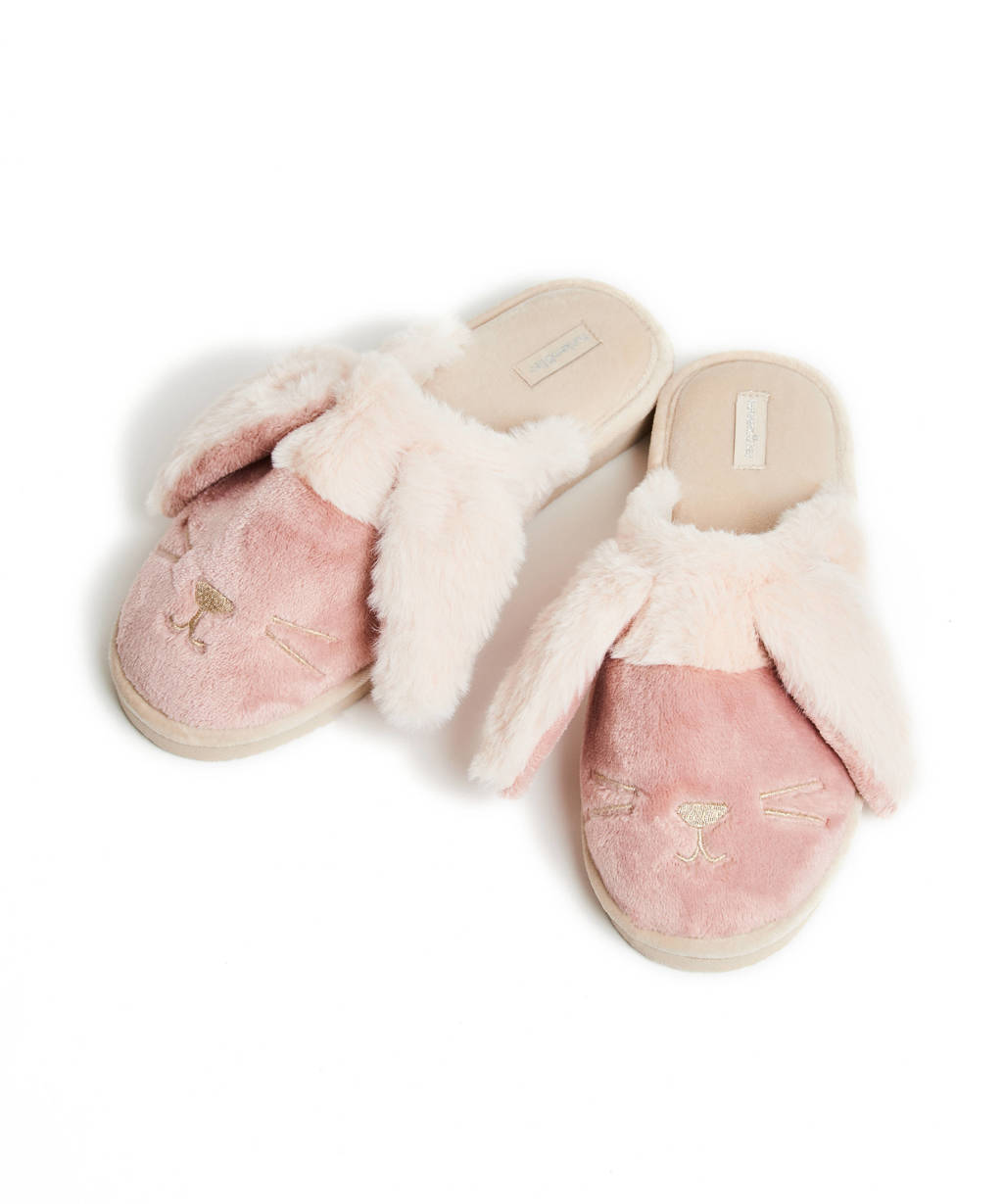 Hunkemöller pantoffels Bunny van imitatiebont roze/ecru, Roze/ecru